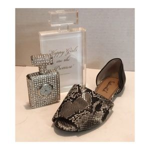 SPLENDID Snakeskin Slip On OPEN TOE Flat SANDAL